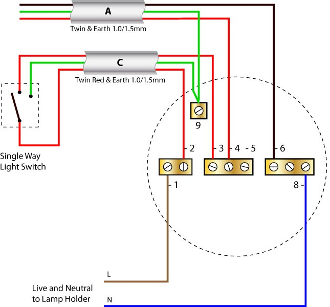 Ceiling rose wiring (older cable colours) | Ceiling Rose ... on on off on rocker switches diagrams, two-way switch installation, spst switch diagrams, two-way switch with plugin, two-way toggle switch wiring, two-way switch schematic, two-way lighting circuit wiring diagram, two-way switch connection, two-way light switch,